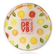 Пудра компактная с витаминами FARMSTAY DR-V8 vitamin UV pact SPF 50 12г*2шт: фото