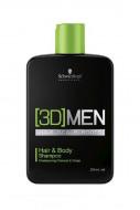 Шампунь для волос и тела Schwarzkopf Professional, [3D]MEN 250 мл: фото